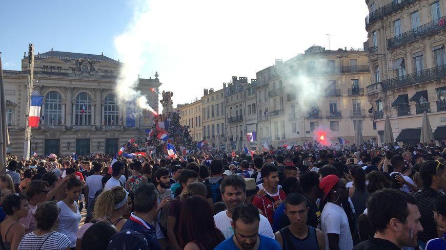 La place de la Comédie à Montpellier le 15 juillet 2018 pour fêter le titre de champion du monde