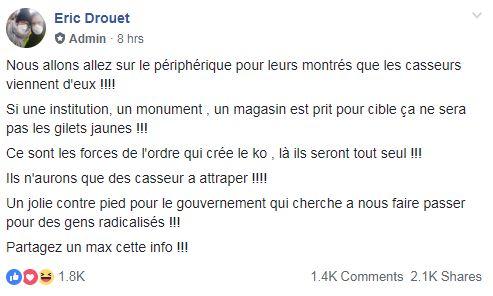 L'appel d'Éric Drouet à bloquer le périphérique.