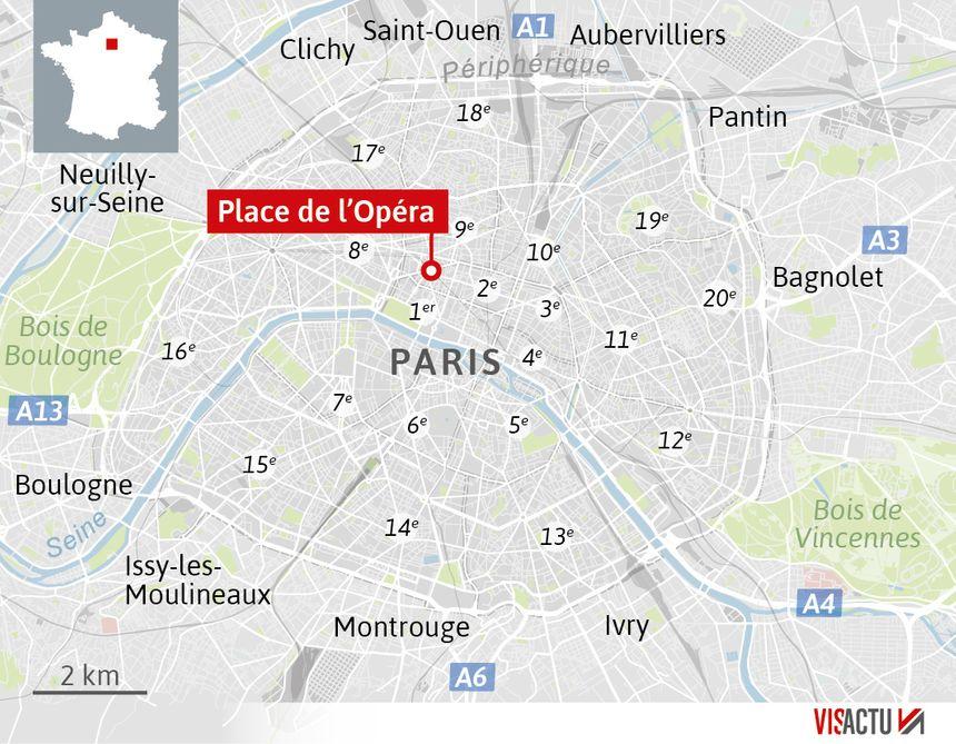 Le quartier de l'Opéra, point chaud de la manifestation des gilets jaunes.
