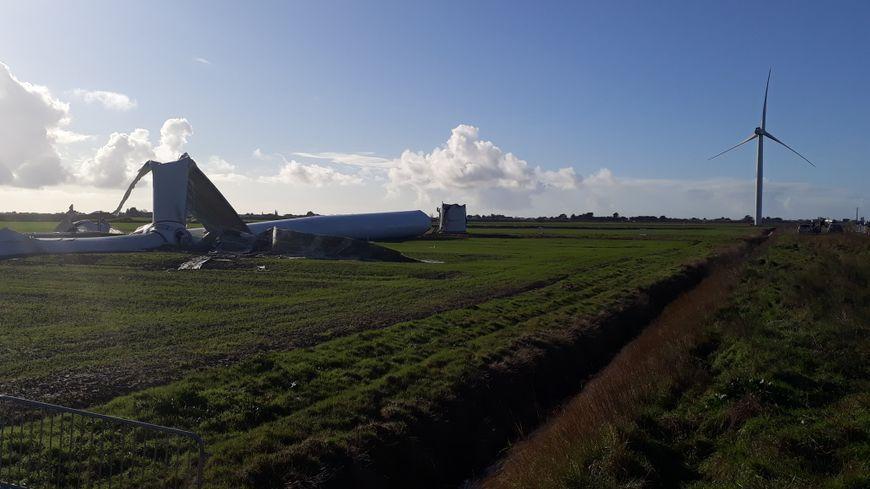 L'éolienne N°7, après le passage de la tempête Carmen à Bouin.