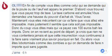"""Extrait des réactions sur le groupe """"La France en colère !!!"""" après les déclarations d'Emmanuel Macron lundi soir."""