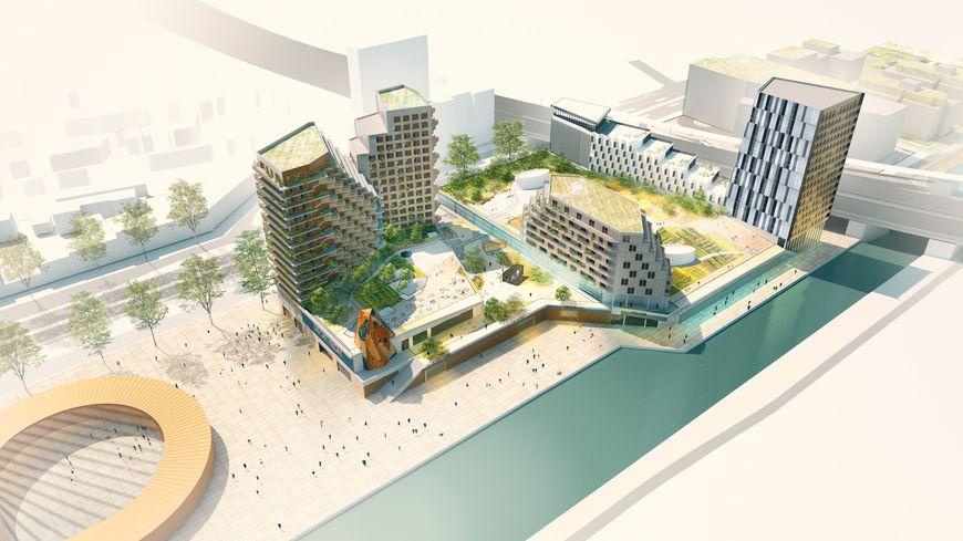 La future piscine olympique du pont de Bondy (visuel de pré projet)