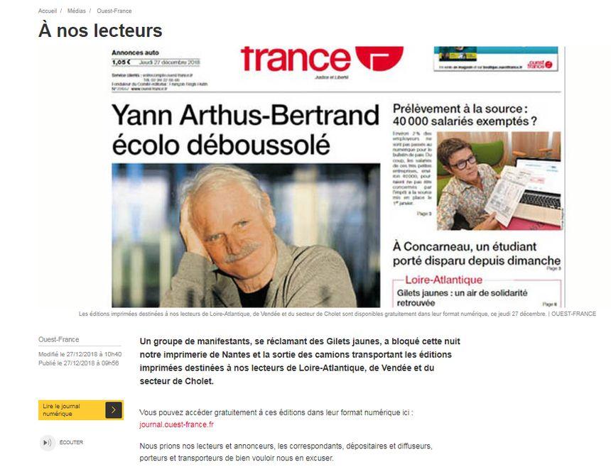 Ouest-France s'excuse auprès de ses lecteurs et de ses annonceurs ce jeudi matin