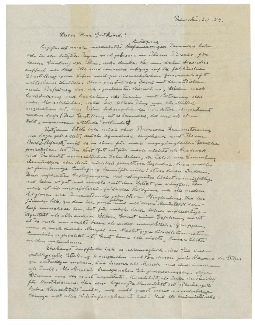 """La lettre manuscrite et écrite en allemande est surnomée """"The God Letter""""."""