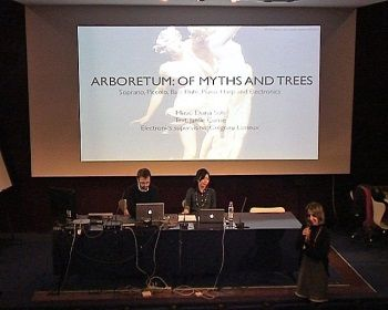 Diana Soh, composer and Grégoire Lorieux, tutor, present the work for Arboretum : of myths and trees