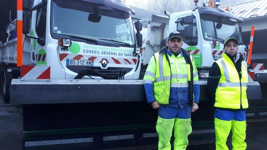 Les agents du centre d'exploitation des routes de Brassac dans le Tarn mobilisés 7/7  avec leurs chasse-neige