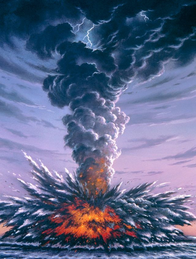 L'explosion du Krakatau en 1883. Des roches ont été projetées à 55 km dans les airs et des cendres sont tombées sur des navires à 6 000 km du volcan. Environ 24 kilomètres carrés de l'île Krakatau avaient disparu...