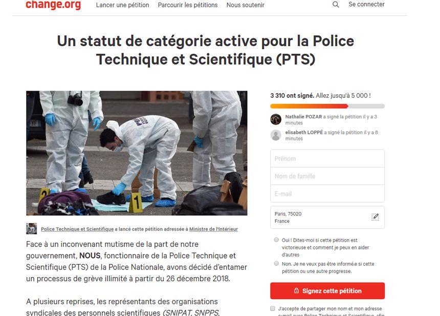 La pétition de la Police Scientifique rassemblait plus de 3.300 signatures ce mercredi après-midi.