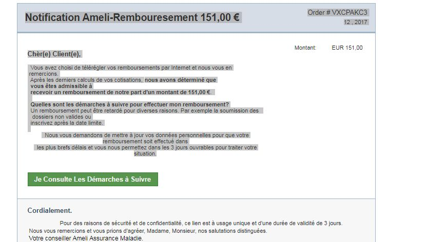 Un faux mail faisant croire à un remboursement qui viendrait de l assurance  maladie ( 1f61fa065157