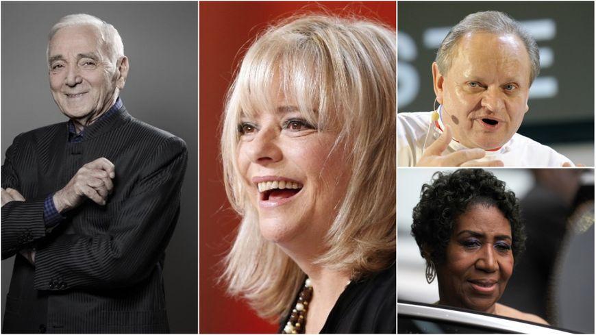 Charles Aznavour, France Gall, Joël Robuchon et Aretha Franklin (de gauche à droite)