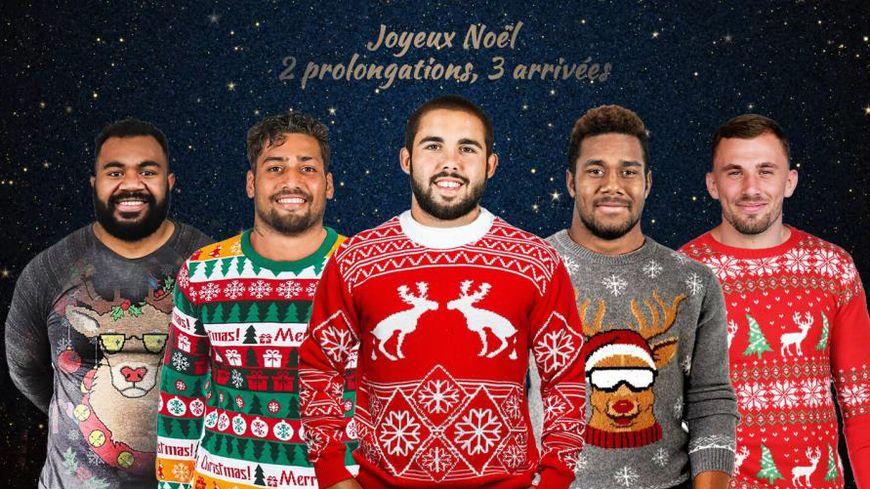 Le CA Brive a offert de très beaux pulls de Noël aux cinq joueurs qui prolongent ou s'engagent au sein du club