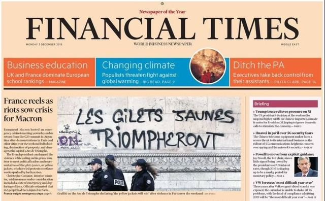 Le Financial Times du 3 décembre 2018