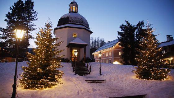 La chapelle construite en mémoire de la composition de Douce Nuit dans la ville d'Oberndorf en Autriche.