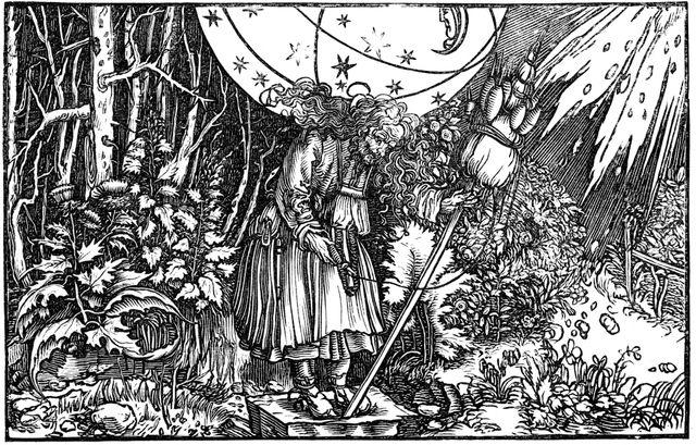 """""""Vieille femme filant (sorcière ou fée)"""", gravure de Hans Holbein le Jeune, en 1547."""