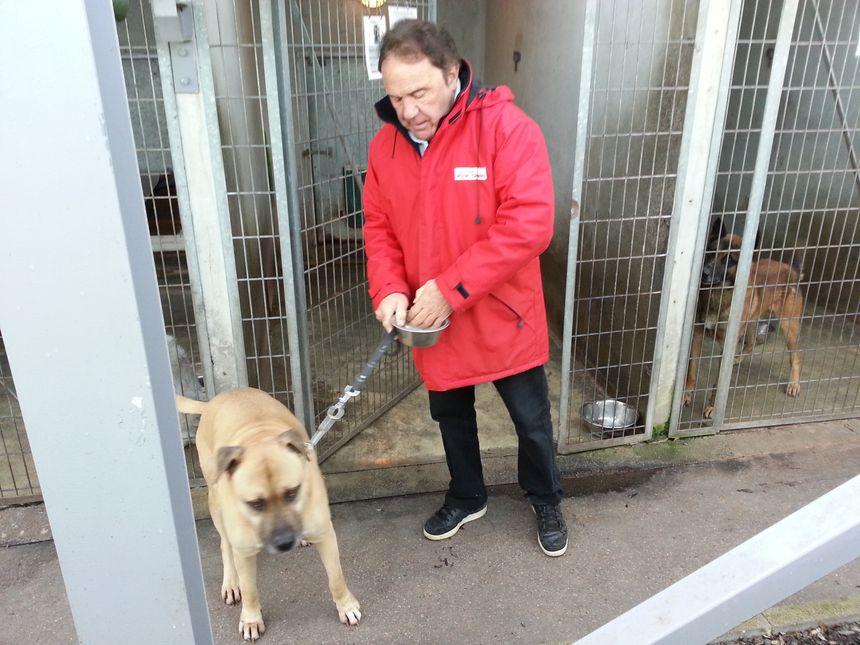 Pierre Porterat avec l'un des chiens de la SPA de Saint Etienne