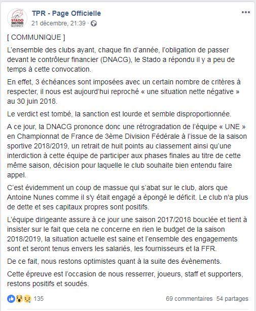 Le Stado TPR a communiqué à ce sujets auprès de ses supporters, via Facebook.