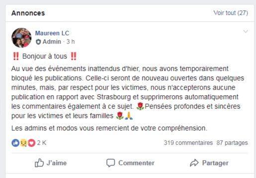 Le message appelant à ne plus poster de publications en lien avec l'attaque de Strasbourg.
