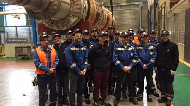 Le rotor de 275 tonnes dans les ateliers GE de Belfort.