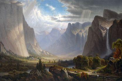 La Vallée de Yosemite d'après une peinture de Thomas Hill - 1870