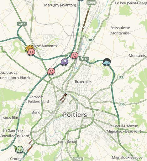 Circulation difficile à poitiers ce samedi midi en raison des actions de gilets jaunes, selon Waze