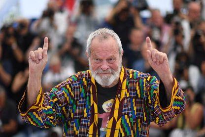 """Le réalisateur britannique Terry Gilliam (des Monty Python), le 19 mai 2018 au Festival de Cannes pour son film """"L'Homme qui tua Don Quichotte""""."""