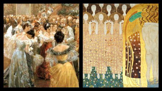 Bal à la Cour par Wilhelm Gause et Frise Beethoven de Gustav Klimt
