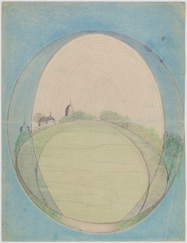 Anna Hackel (Bohême) – 10 mai 1931 Sans titre Crayon noir et crayon de couleur sur carton, 30 x 22 cm n°0302