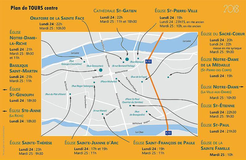 Lieux et horaires des messes et veillées sur Tours-centre les 24 et 25 décembre