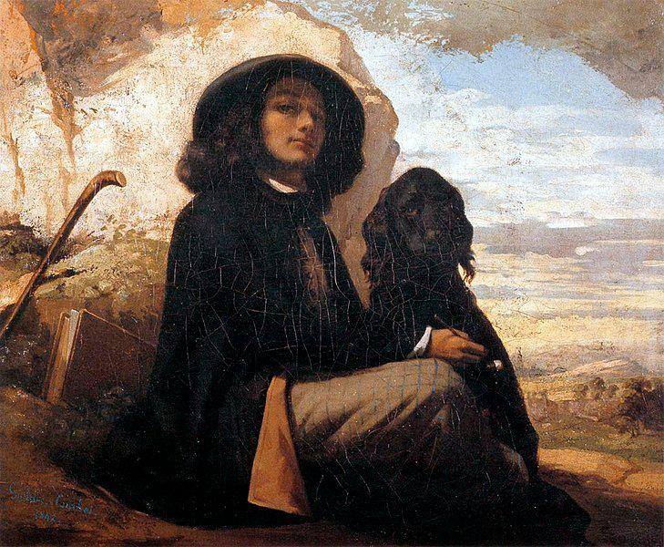 Gustave Coubet - L'autoportrait au chien noir