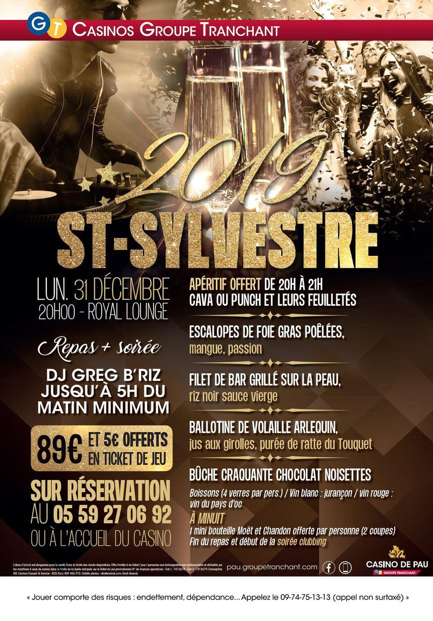 Le Menu du Réveillon de la St Sylvestre au Royal Lounge, le restaurant du Casino de Pau