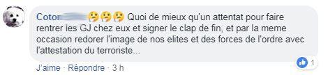 """Capture d'écran d'échanges entre """"gilets jaunes"""" dans le groupe Facebook """"La France en colère !!!"""""""