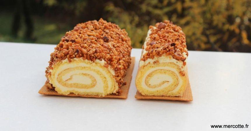 L'idée de Mercotte pour la bûche roulée 2018 : au biscuit viennois et ganache yuzu.