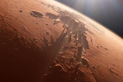 """La planète Mars, ici au niveau de la """"Valles Marineris"""""""