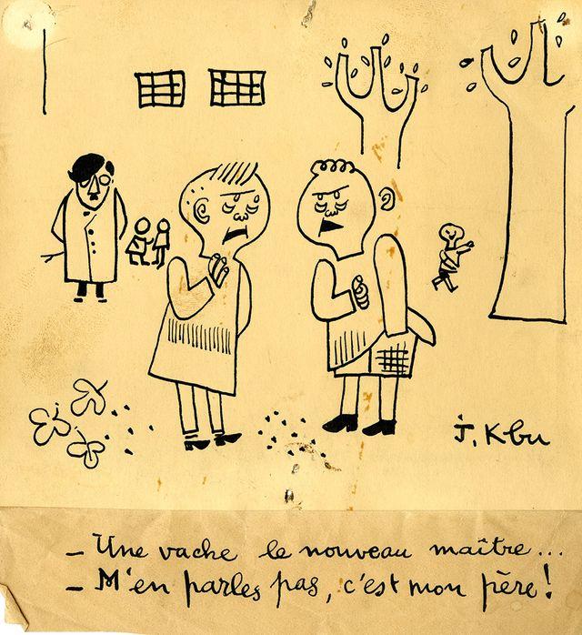 """Un dessin de jeunesse de Cabu visible dans l'exposition """"K-Bu avant Cabu. Tout commence à Châlons"""" à Châlons-en-Champagne"""