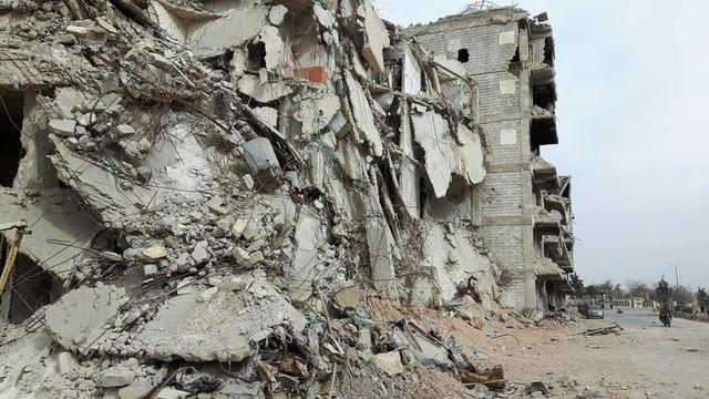 En mars 2017, 3 mois après la fin des combats, le centre ville d'Alep est largement dévasté