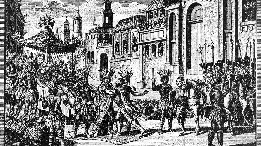 Moctezuma II (1466-1520), le souverain aztèque du Mexique, rencontre Hernan Cortes et ses hommes au bord de la ville de Mexico (Tenochtitlan).
