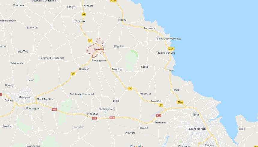 Lanvollon se situe entre Guingamp et Saint Quay-Portrieux