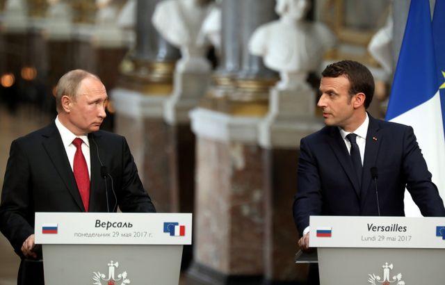 Vladimir Poutine et Emmanuel Macron le 29 mai 2017 à Versailles