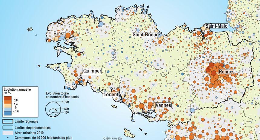 Evolution de la population en Bretagne entre 2011 et 2016.