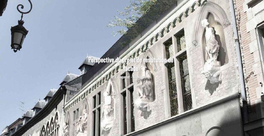 Perspective du projet de restitution de la façade de la Maison des Musiciens de Reims