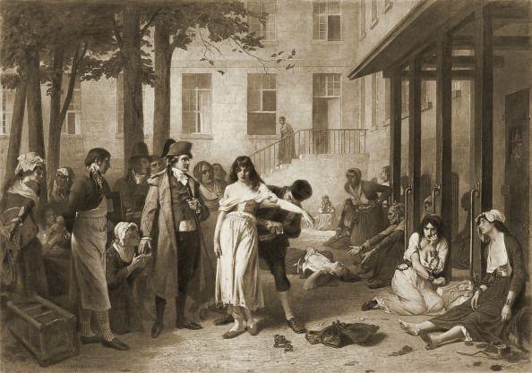 Le docteur Philippe Pinel faisant tomber les chaînes des aliénés, d'après une peinture de Tony Robert-Fleury ((1838 - 1911)