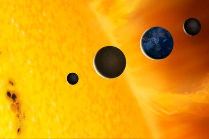 Une planète près du soleil qui fond