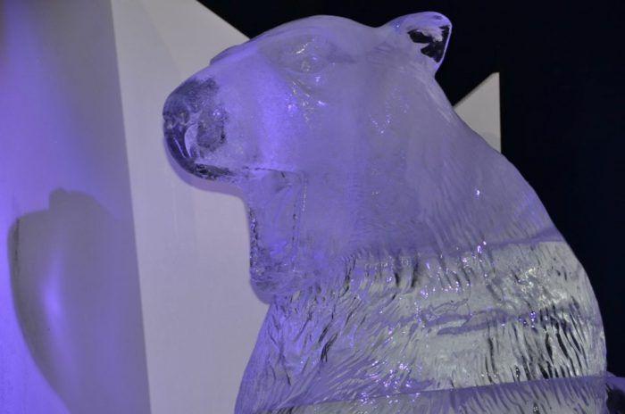 Des sculptures sur glace sont présentées dans une féérie polaire.