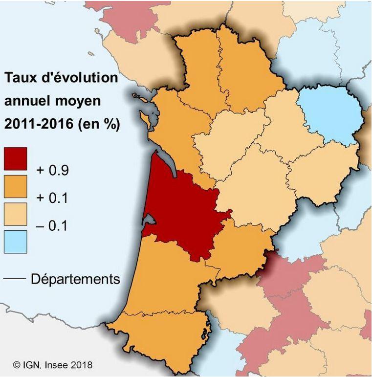 Évolution annuelle moyenne de la population départementale entre 2011 et 2016