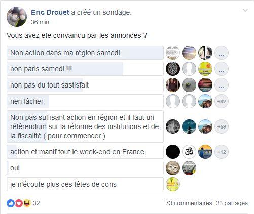 Le sondage lancé par Eric Drouet sur Facebook
