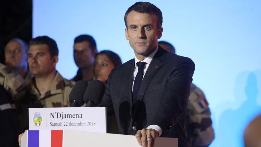 Emmanuel Macron, lors de son déplacement au Tchad.