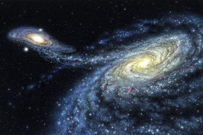 Image d'illustration : la voie lactée entrant ici en collision avec la galaxie d'Andromède