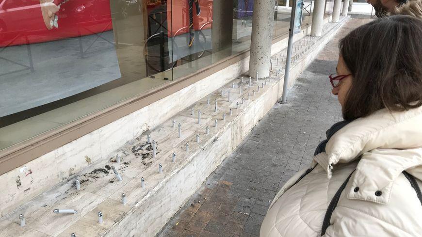 Le dispositif a été vandalisé la nuit de son installation, une des propriétaires constate les dégâts.