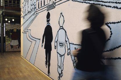 Image de Tintin et du Capitaine Haddock au Centre belge de la bd Musée de Bruxelles