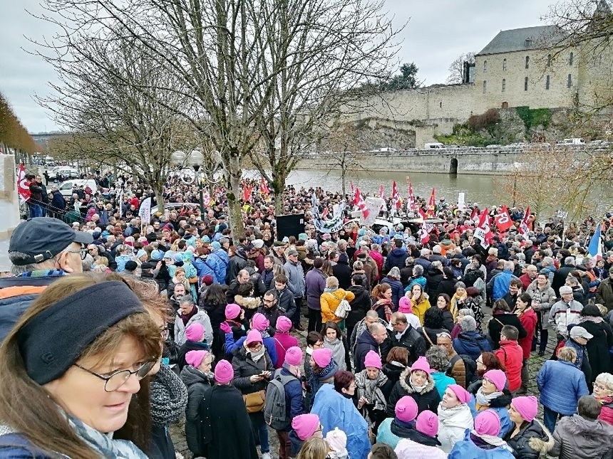 Des bonnets roses et des blouses d'hôpital par centaines dans la foule